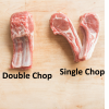 Double and single cut lamb and goat rib chops