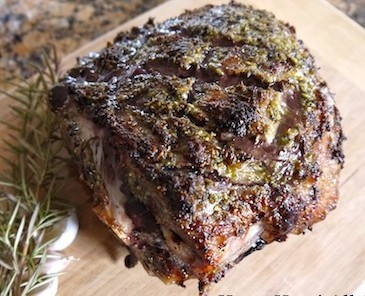 Slow roasted leg of lamb with herbs