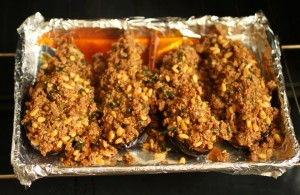 Stuffed eggplant with ground lamb and pinenuts