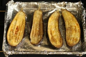 Baked eggplant ready for filling