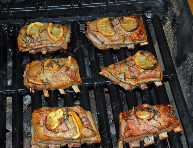 Lamb short ribs on grill