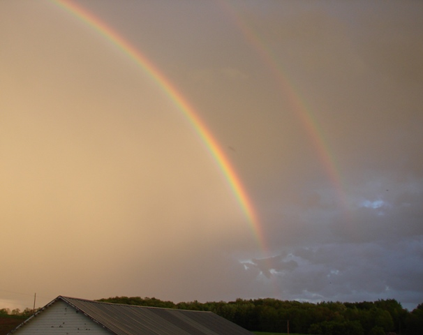 Day ends with a double rainbow