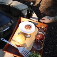Lamb burger on grill