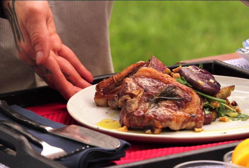Plated lamb loin chops