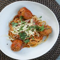 Goat meatballs with spagetti