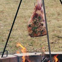 Lamb leg roasted tripod pit
