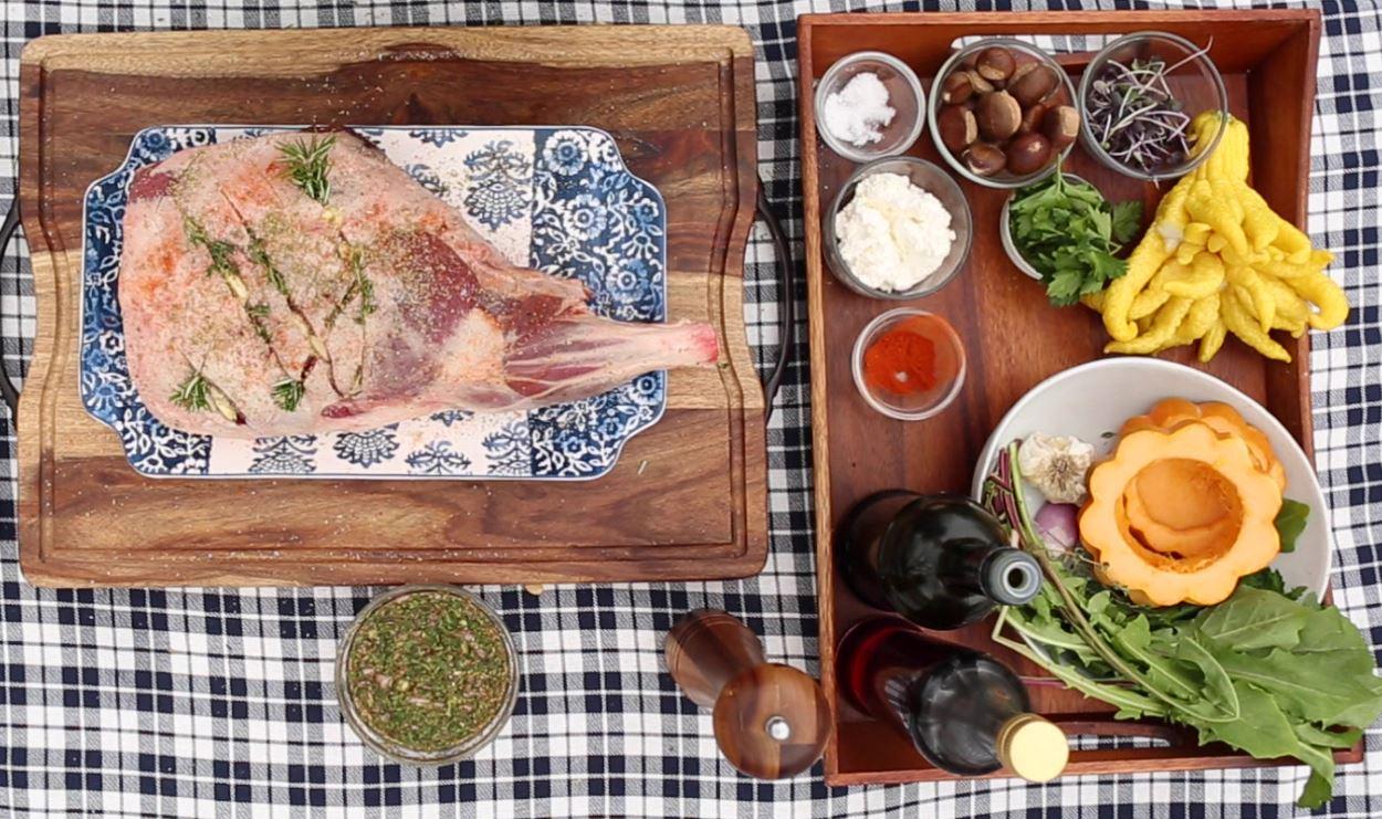 Lamb Leg Tripod Roast Preparation