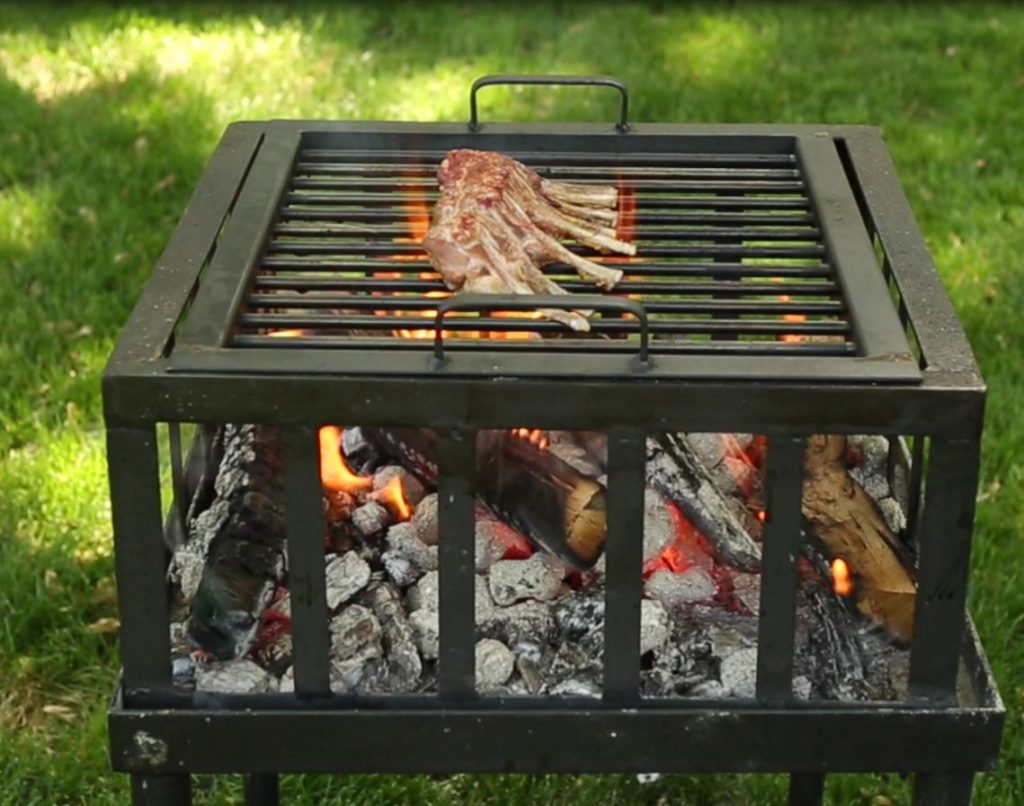 Goat Rack on grill