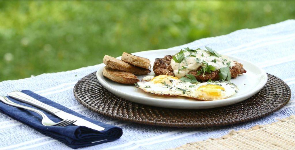 Crispy Fried Leg Steak with Egg