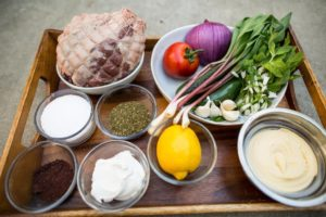 Baked lamb leg ingredient display