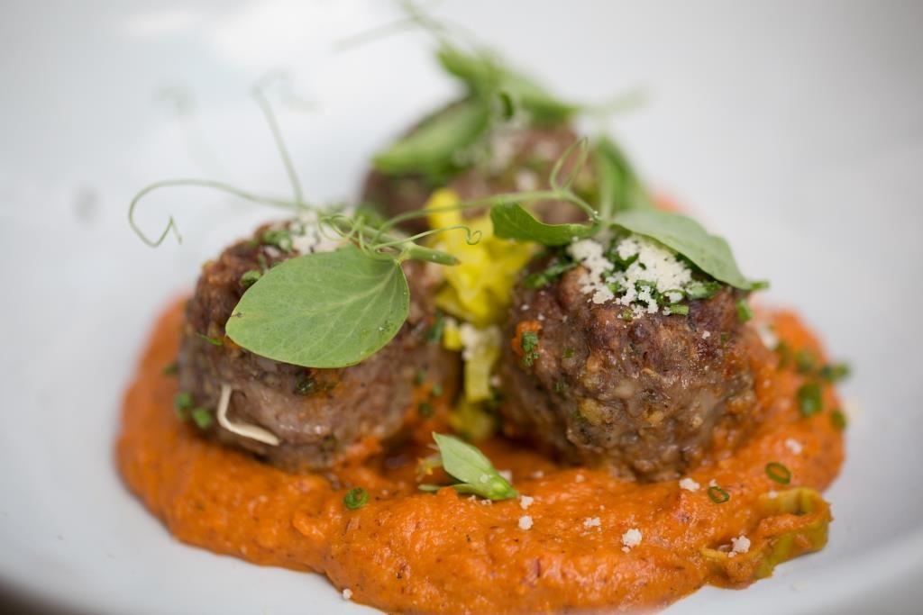 Goat Meatball Romesco Plated