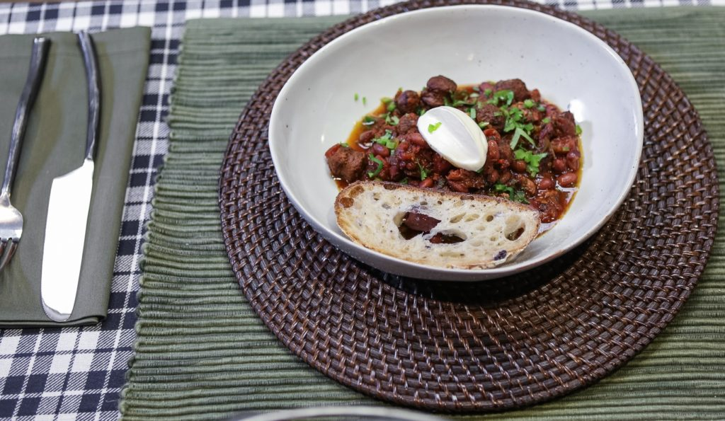 Lamb Sausage Chili Served