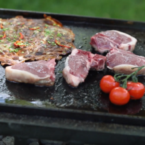 Goat Loin chops on Grill with Potatoes