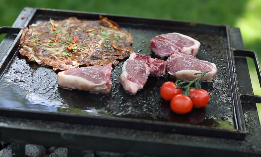 Goat chops on Grill with Potatoes