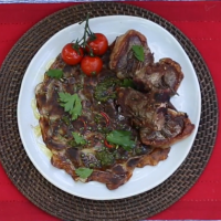 Goat Loin Chop Recipe Served with Thinly Slice Potato