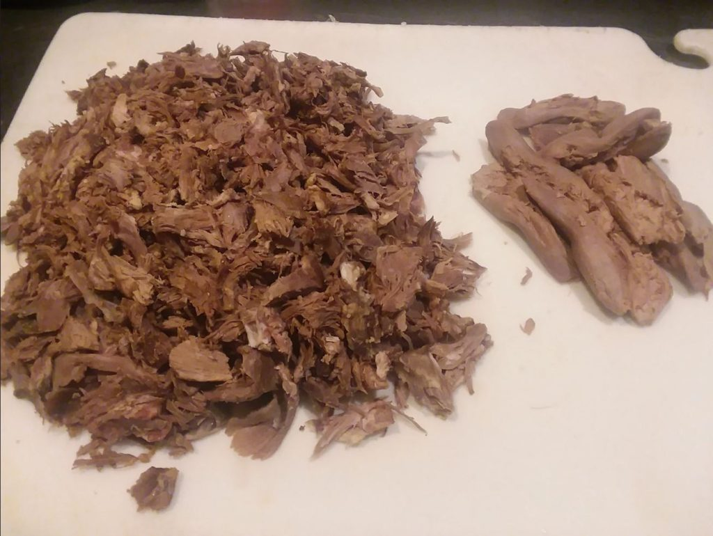 Pulled lamb meat