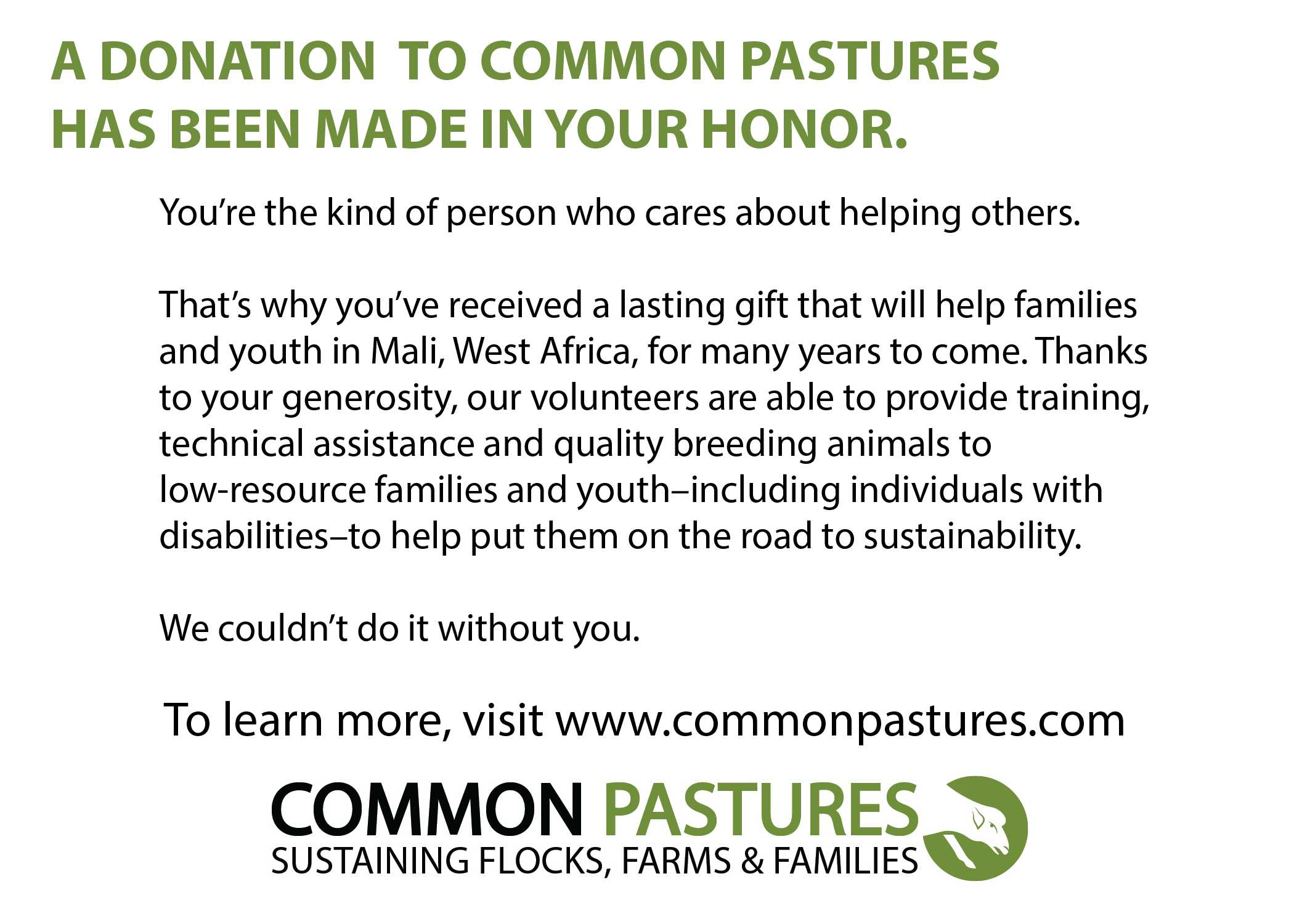 Common Pasture Donation Certificate Shepherd Song Farm