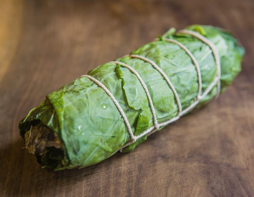 Lamb Head Cheese Roulade with Collard Greens