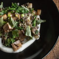 Lamb breast wild rice bowl with turnips, turnip greens and yogurt._