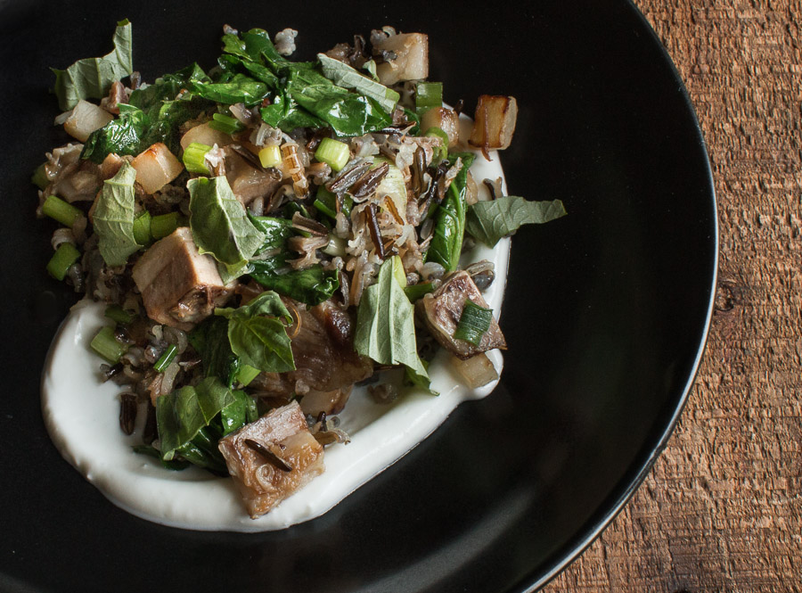 Lamb breast wild rice bowl with turnips, turnip greens and yogurt