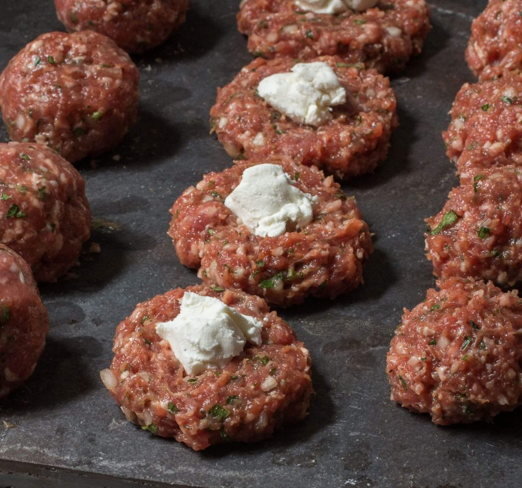 Preparing Meatballs with cheese