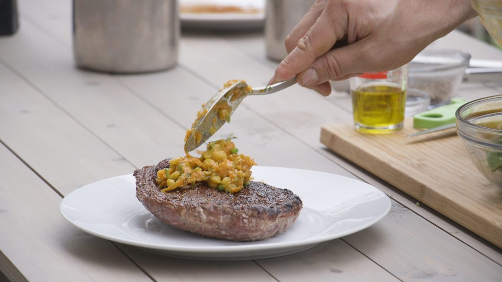 Lamb Steak and chickpea