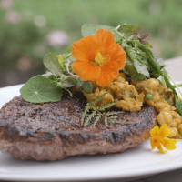 Goat leg steak with chickpeas