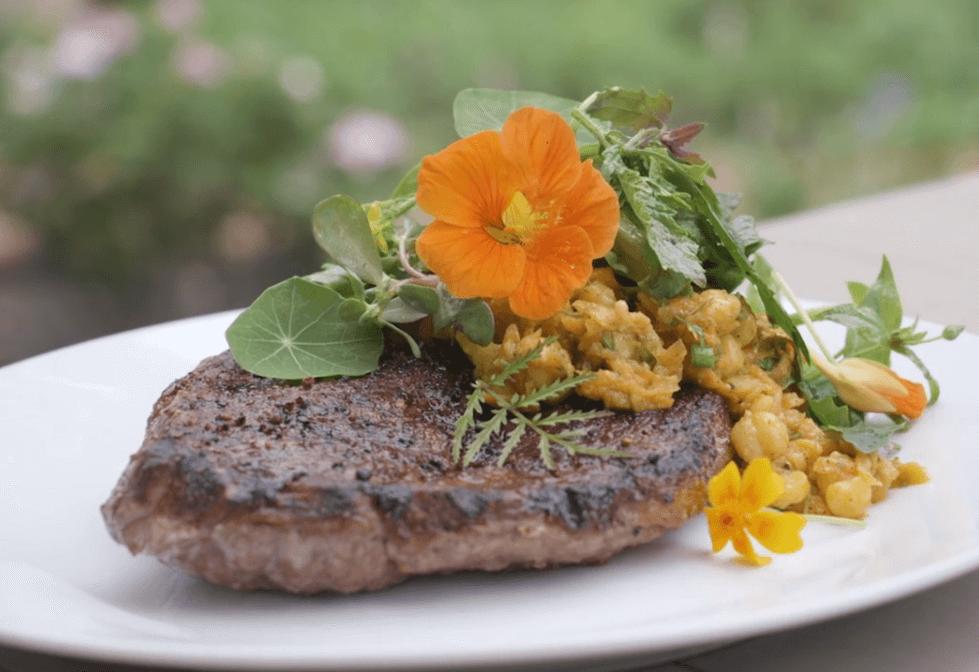 Goat leg steak with chickpeas
