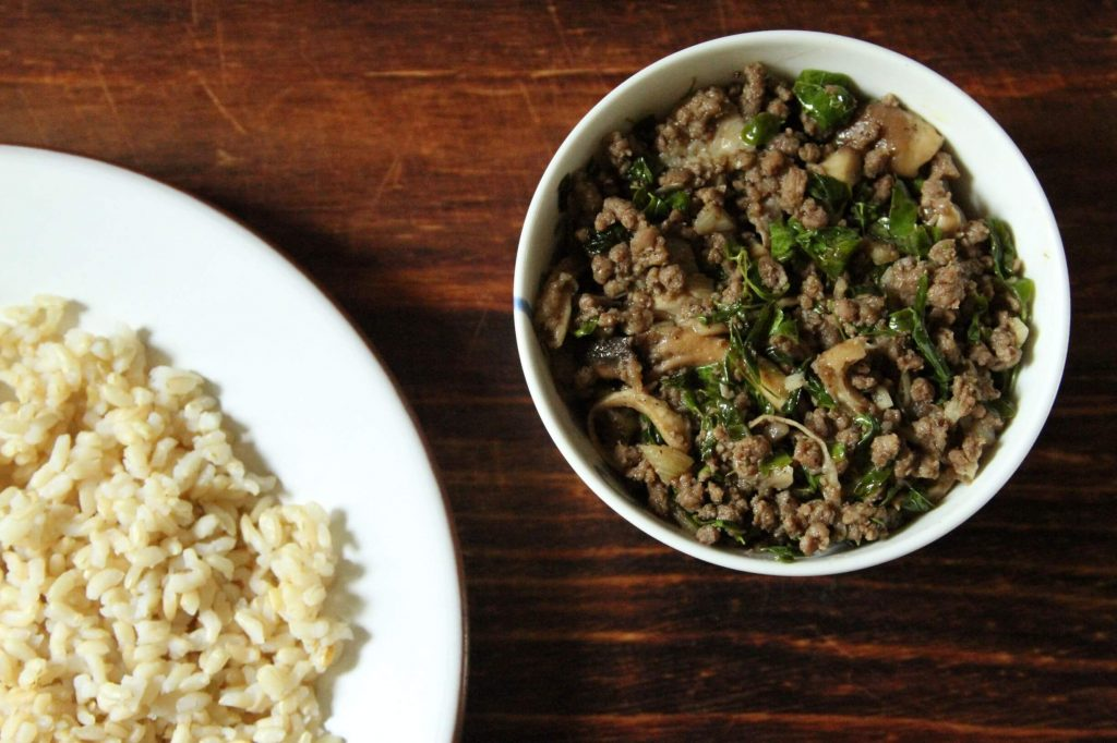 Sauteed mushroom, ground lamb and Moringa