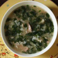 Rice porridge with lamb and moringa