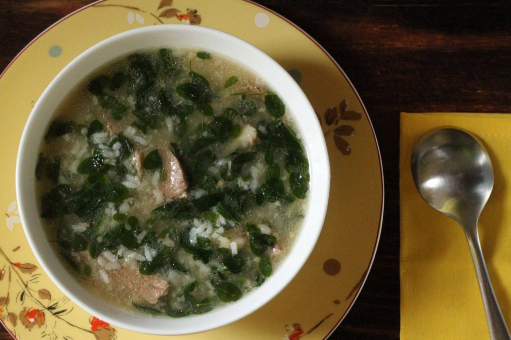 Lamb rice porridge with moringa