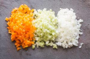 Trinity of onions, peppers and celery