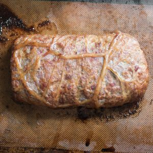 Lamb and goat bacon meatloaf