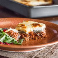 Grass fed lamb or goat moussaka