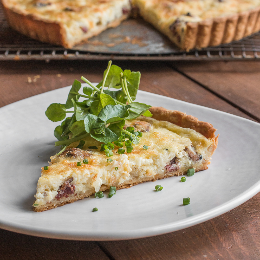 Grass fed lamb bacon quiche Lorraine