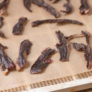 Grass fed lamb or goat heart jerky dog treats