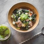 Grass fed lamb or goat head vegetable soup