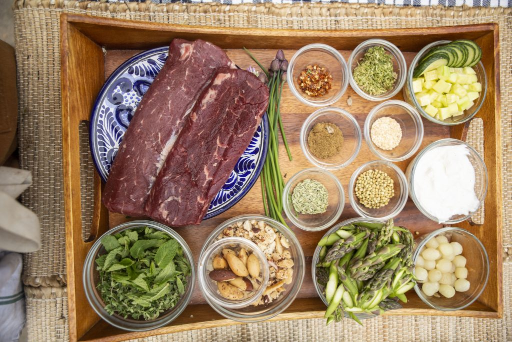Mise en place for grass fed lamb loin with cucumbers, yogurt, and dukkah