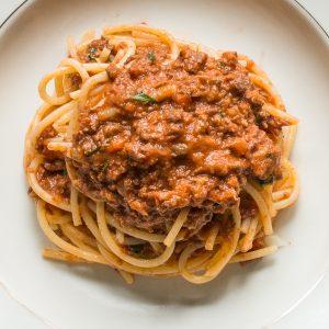 Goat heart spaghetti bolognese
