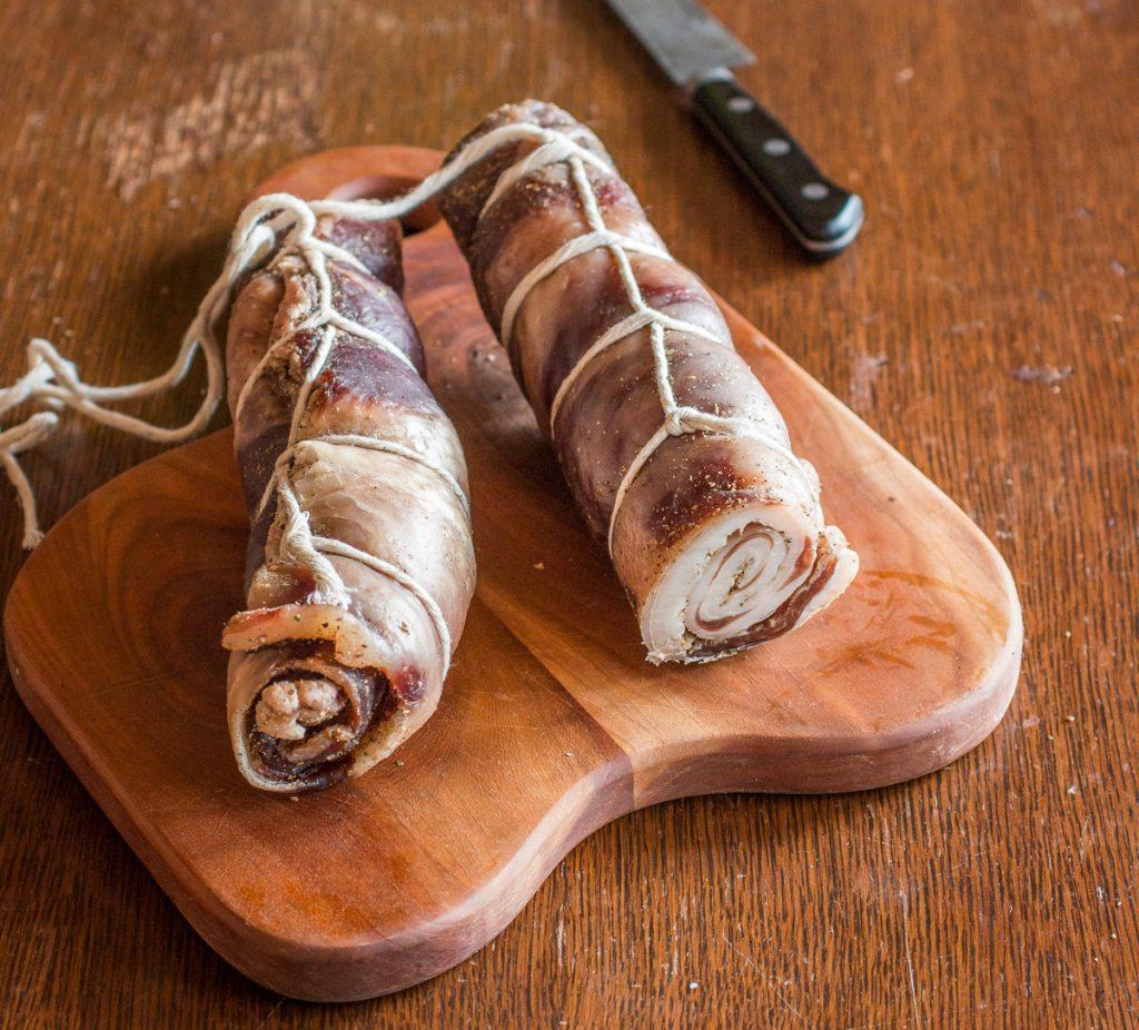 Homemade lamb or goat pancetta