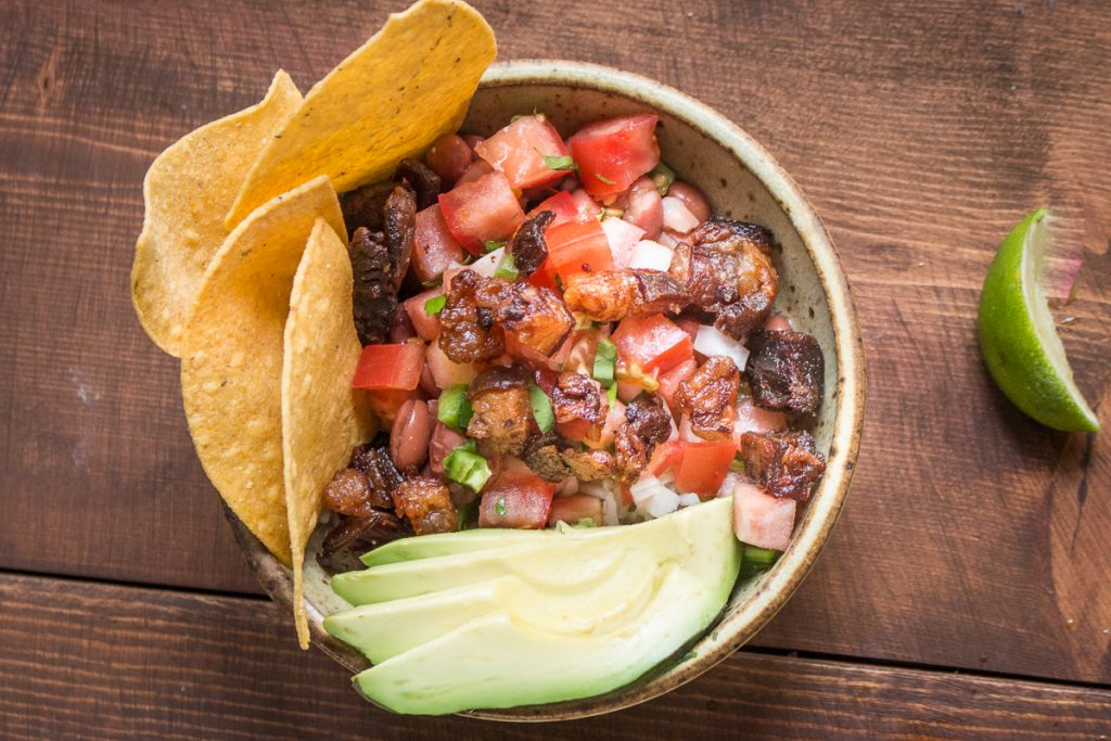 Grass fed goat or lamb belly taco bowls