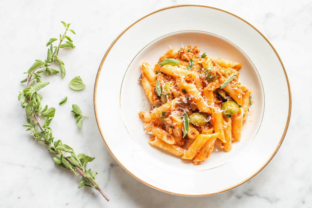 Penne with goat ragu and olives recipe