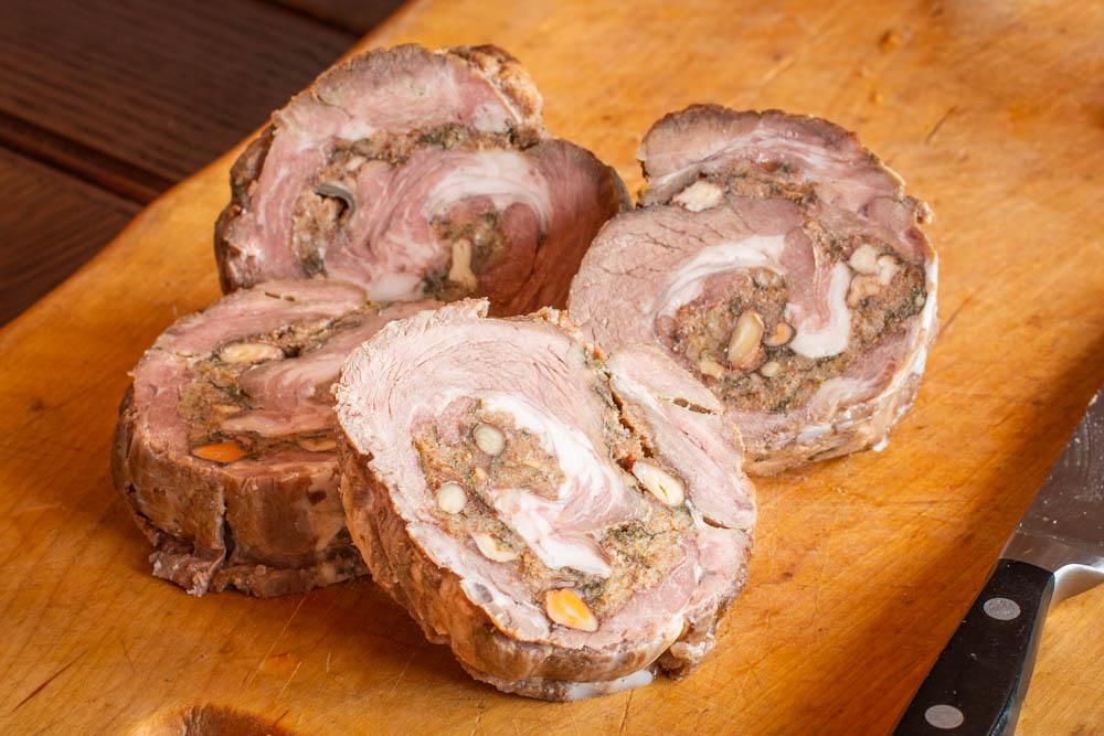 Lamb saratoga roast stuffed with black walnuts