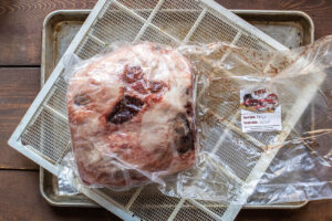 dry aging mutton leg in a bag