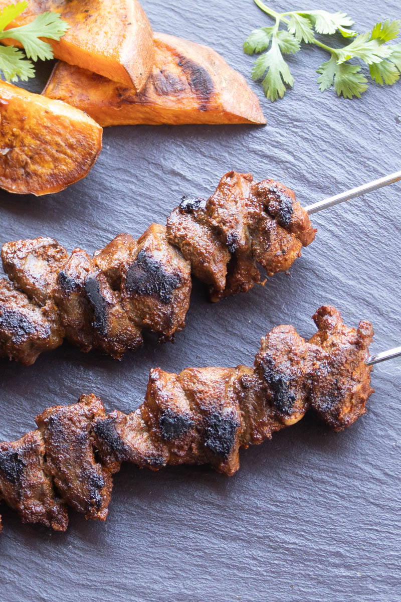 South American lamb or goat heart skewer recipe on the grill