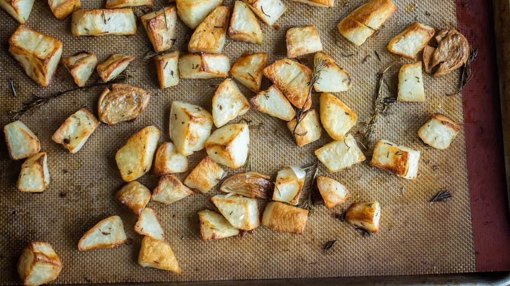 Roasted lamb fat potatoes with rosemary