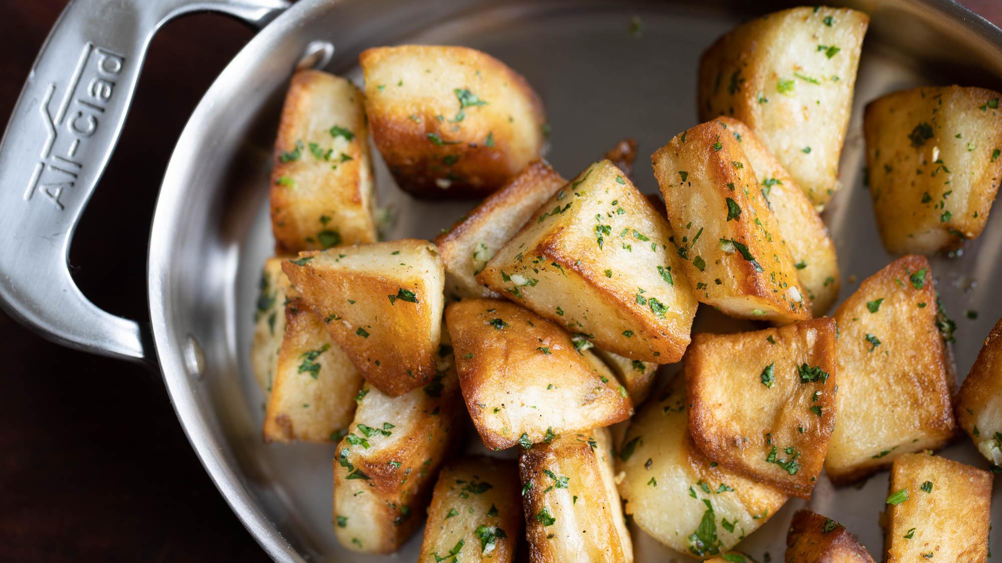 Crispy lamb fat potatoes