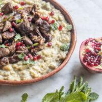 Turkish fried lamb with mashed eggplant recipe