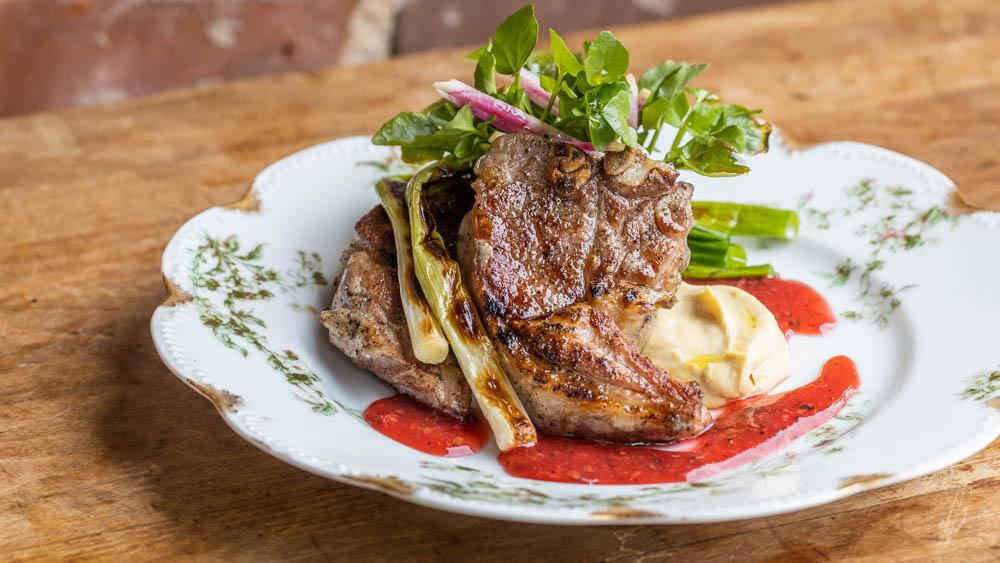 Goat t-bone chops with highbush cranberry tkemali sauce