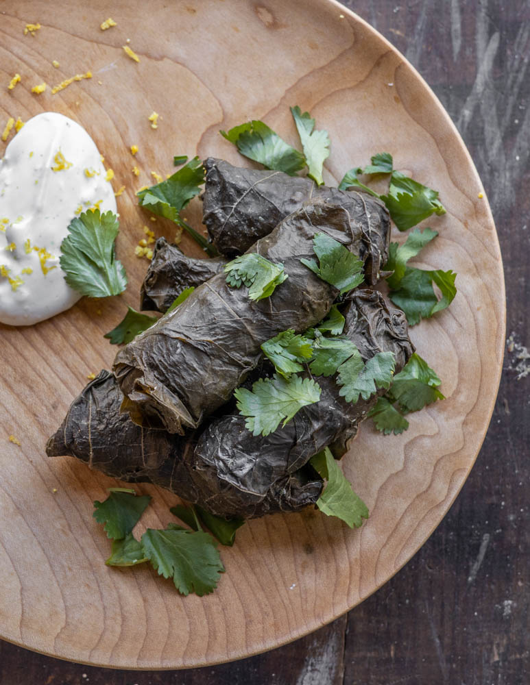 Lamb and wild rice dolmas recipe
